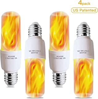 Abameric Flame LED Light Bulbs E26 Base |LED Flame Effect Light Bulb | with Gravity Sensor | Flickering Flame Light Bulb for Indoor/Outdoor Use | for Home/Hotel/Bar/Party Decor | Holiday Gifts(4 Pack)