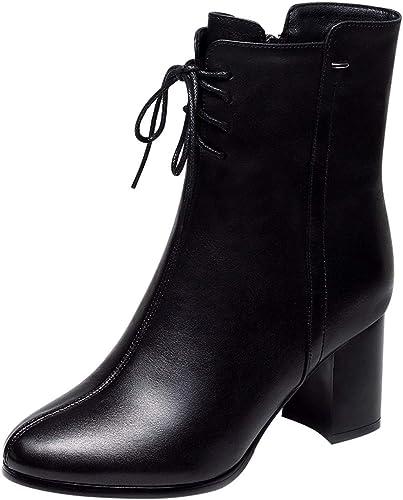 HBDLH Chaussures pour Femmes Hauts Talons Femmes Printemps des Bottes Chaussures De Femme Rude Talons Martin Bottes 7Cm