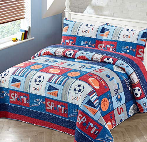 Luxury Home Collection 3 Piece Full/Queen Size Quilt Coverlet Bedspread Bedding Set for Kids Teens Boys Girls Sports Basketball Baseball Football Soccer Navy Blue White Orange Red Gray (Full Size)