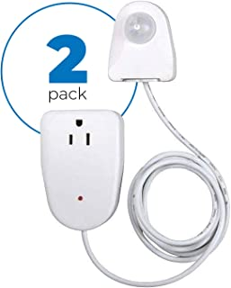 Motion Sensor Outlet Device, 2 Pack – Plug In Motion Sensor Device Turns On Your Lamp, Radio or Appliance When Movement Is Detected – Ideal For Dark Rooms, Hallways – 25ft Detection, 6 Foot Cord