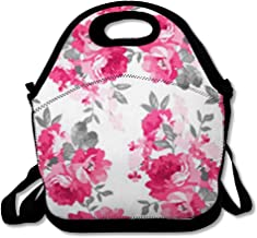 Women Lunch Bag for Men Girl Blossom Flower Pink Roses Use Create to Projects for Scrap Pattern Booking Nature White Rosebud Reusable Insulated Lunch Tote for Office Picnic or School