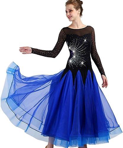 JTSYUXN Robe De Danse Nationale Standard à Manches Longues Et Grande Jupe évasée avec Tango Et Perforhommece Strass (Couleur   Royal bleu, Taille   XL)
