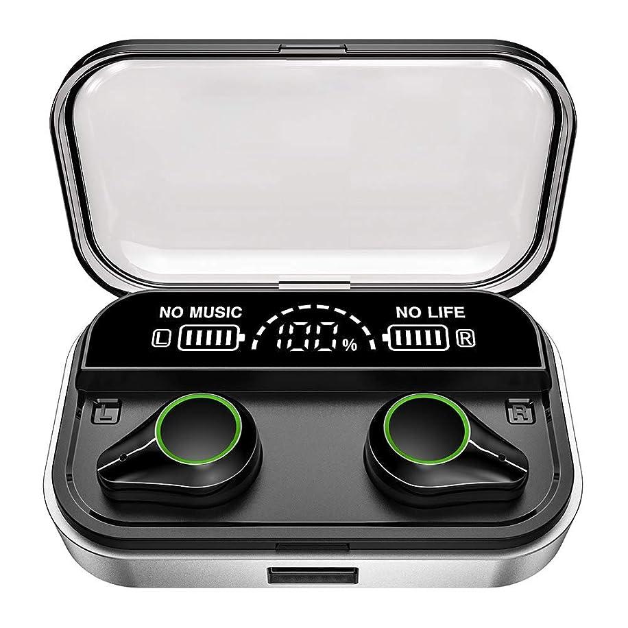 僕のウガンダ支出【最新版 LEDディスプレイBluetoothヘッドセット+5.0】Bluetooth イヤホン 両耳 高音質 IPX7防水規格 Bluetooth 5.0 ヘッドホン ハンズフリー通話 無線充電対応 自動ペアリング 自動電源ON/OFF 両耳通話 左右分離型 音量調整可 充電式収納ケース付き VC8.0ノイズキャンセリング 通話マイク内蔵(Silver)