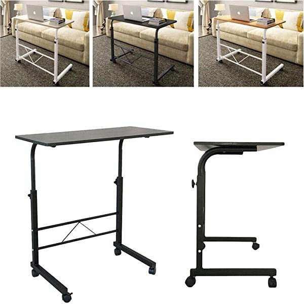 SD Life Portable Height Adjustable Laptop Table Stand Computer Desk Sofa Side Rolling Black