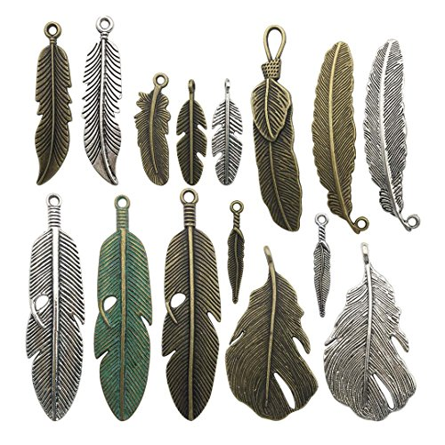20 pcs Antique Silver Antique Bronze Mixed Heart Wing Charms Jewelry Making Silver Charms Mixed Smooth Tibetan Silver Metal Charms Pendants DIY for Necklace Bracelet and Crafting (HM20)