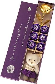 Gyratedream 6 Pcs Parfumé Rose Fleur Pétale Coffret Cadeau Avec Ours Or Rose Bain Savon Pour Le Corps