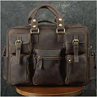 Mens Bag Men's Leather 15 Inch Multi-pocket Shoulder Portable Messenger Computer Shoulder Bag High capacity