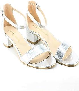Gümüş Lame 3 cm Kısa Topuklu Tek Bant Bayan Ayakkabı