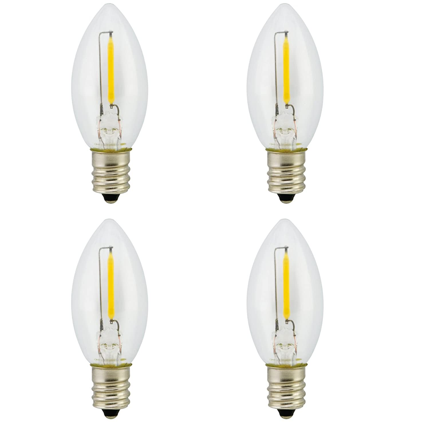 Promotion! Landlite Night Light Bulb LED C7 1W, Bullet/Candle Shape LED Bulb 120V 1W E12 Candelabra Screw Base, Accent Wall Night Light/Window Candles/Christmas Villages Replacement Bulb, 4Pack