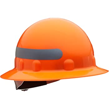 Fibre-Metal by Honeywell SuperEight Thermoplastic Full Brim Hard Hat with 8-Point Ratchet Suspension, Hi-Viz Strong Orange with Silver Reflective Tape