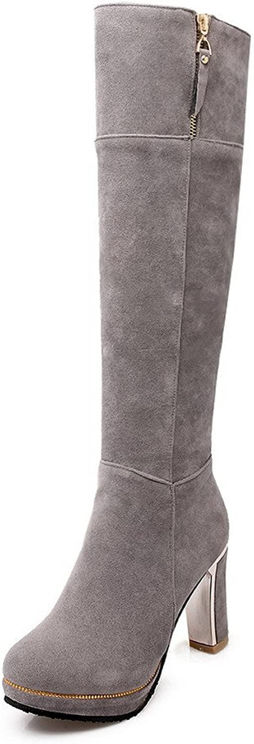AmoonyFashion Women's Solid High Heels Round Closed Toe Cow Imitated Suede Zipper Boots