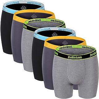 Zonbailon Men's No Ride Up Bamboo Boxer Briefs Long Leg Underwear for Men Pack(5 or 7) M L XL XXL XXXL