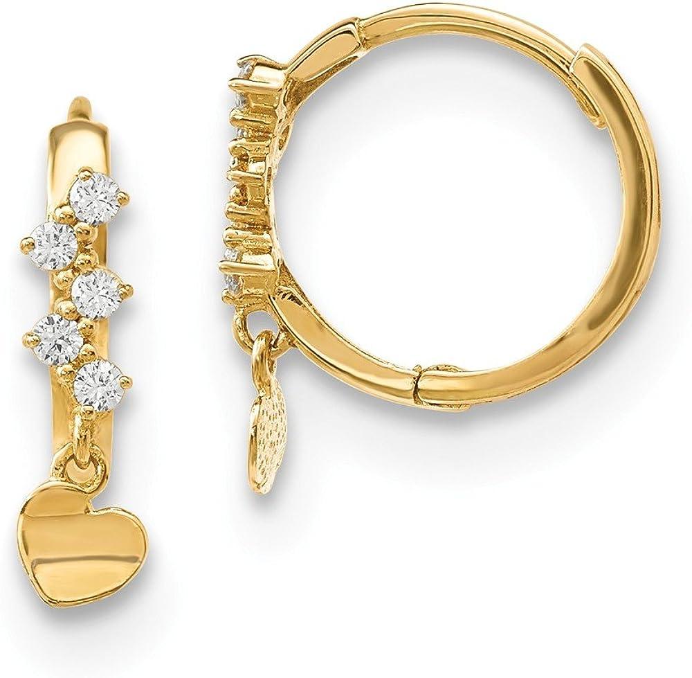 14k Yellow Gold Cubic In stock Zirconia Cz trust Chandelier Heart Drop H Dangle