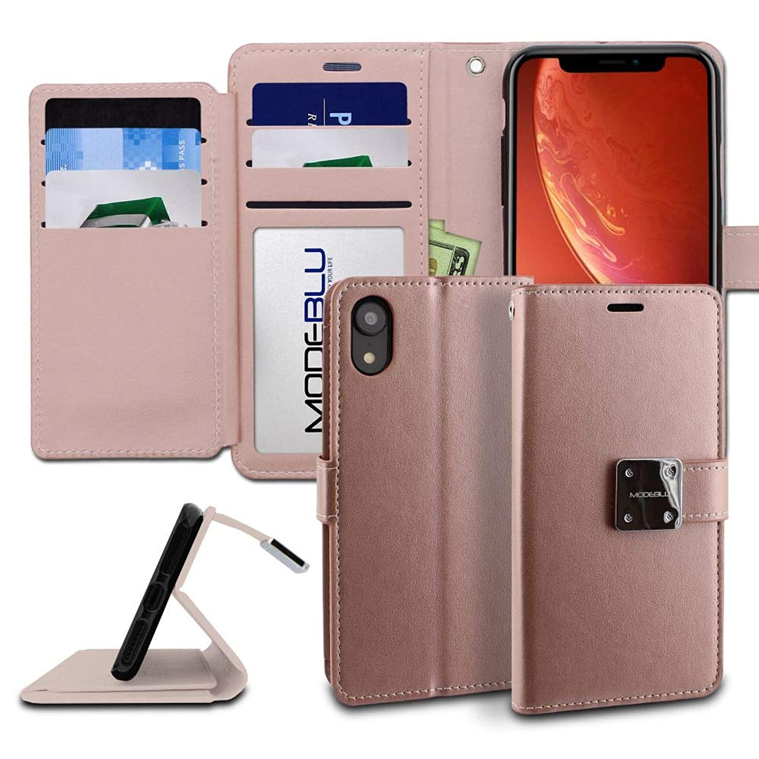 iPhone XR Case, ModeBlu [Mode Diary Series] [Rose Gold] Wallet Case ID Credit Card Cash Slots Premium Synthetic Leather [Stand View] for Apple iPhone XR