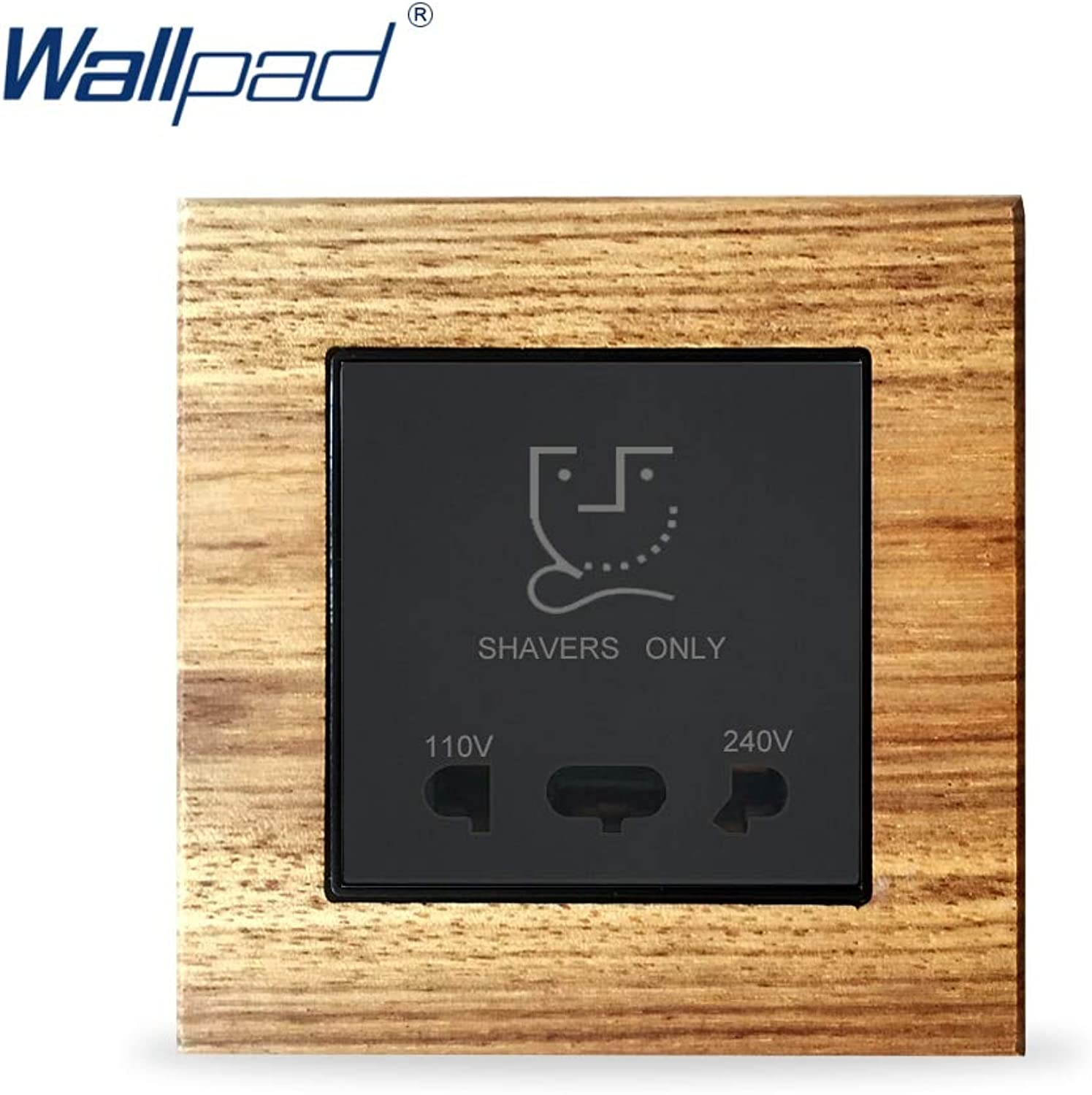 Shaver Socket Wallpad Luxury Wooden Panel Electric Wall Power Socket Electrical Outlets for Home