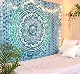 RSG Venture Tapestry Green Mandala Wall Hanging Psychedelic Tapestries Indian Cotton Queen Bedspread Picnic Sheet Wall Decor Blanket Wall Art Hippie Bedroom Décor