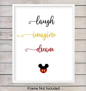 Disney Mickey Mouse Motivational Art Print - Inspirational Wall Art Poster - Chic Home Decor for Bedroom, Bathroom, Living Room, Girls, Kids or Baby Room, Nursery - Great Shower Gift - 8x10 Unframed