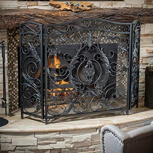 Sale!! HYDT Large Folding Fireplace Screen Black - Indoor Outdoor Metal Baby Pet Safe Proof Fire Gua...