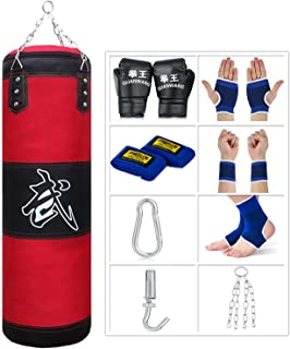 Sfeexun Punching Bag for Man Women Kids, Indoor/Garden Boxing Bag Unfilled Heavy Bag Set with Punching Gloves, Chain, Ceil...