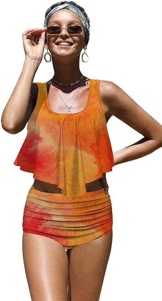 Angerella Womens Absctract Pattern Summer Flounce Bikinis High Waisted Swimsuits,XL-33