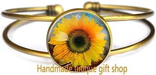 Pulsera hecha a mano única para regalo, pulsera de moda, pulsera de abalorios, pulsera de delicioso, pulsera de girasol, joyas botánicas, pulseras de flores, RC373