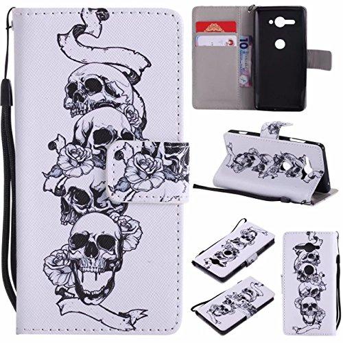 Laybomo Coque Sony Xperia XZ2 Compact Etui Housse PU Cuir Pochette Portefeuille avec Slot pour Carte Aimant Protecteur Doux Silicone Housse Etui pour Sony Xperia XZ2 Compact, Rose Skull