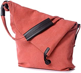 Shoulder Bag Crossbody Bag Canvas Messenger Bag Shoulder Slouch Style for Men and Women Handbag Clutch (Color : Orange)