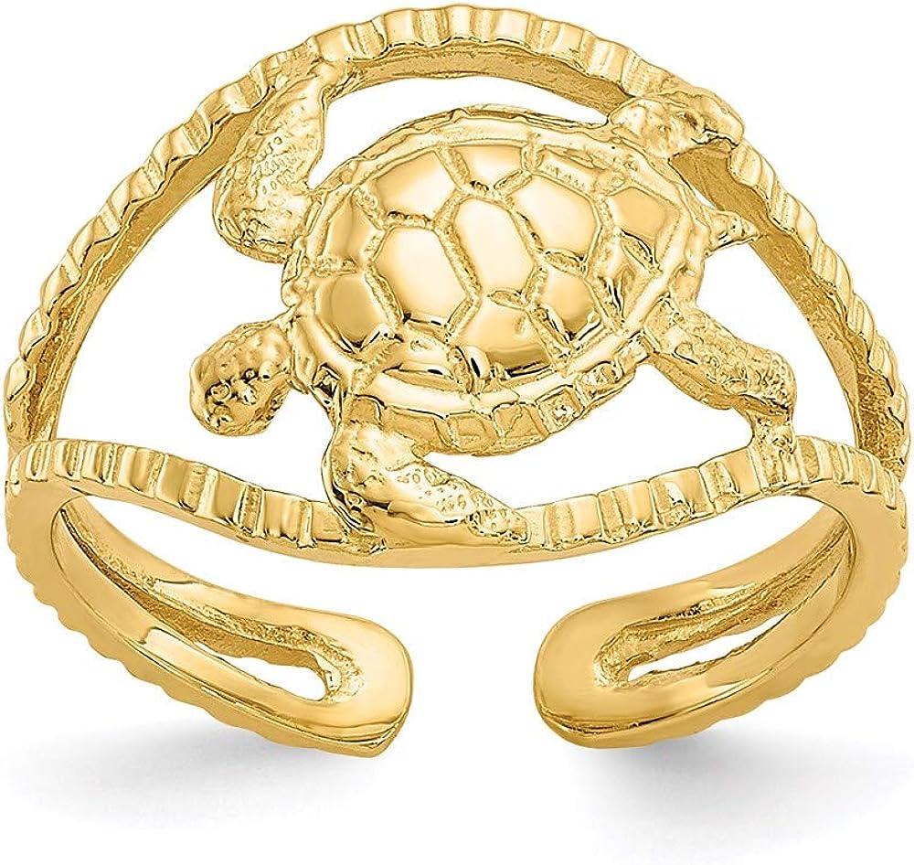 14k Yellow Gold Turtle Toe Ring