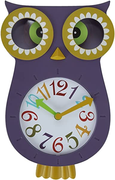 Lily S Home Pendulum Owl Clock With Revolving Eyes And Swinging Tail Wonderful And Colorful Addition To Owl Themed Bedroom D Cor Purple 13 X 8