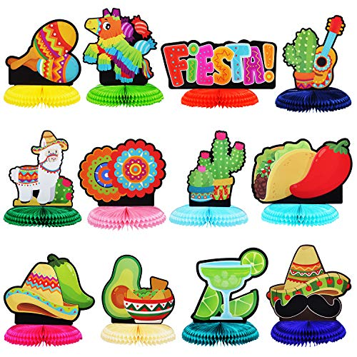 """12 Cinco De Mayo Fiesta Honeycomb Table Centerpiece 8.5"""" for Fun Fiesta Taco Party Supplies, Luau Event Photo Props, Mexican Theme Decoration, Carnivals Festivals, Taco Tuesday Event"""