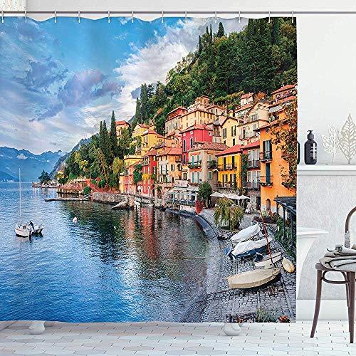 abby-shop Italienischer Duschvorhang, Sommerdorf am Mittelmeer mit Yachtbooten Idyllisches Stadtpanorama, Blaugrau