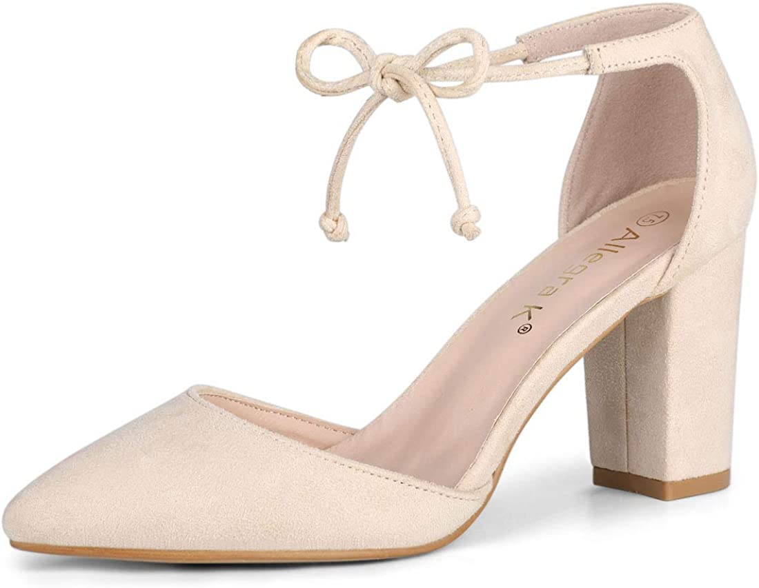 Allegra K Women's SEAL limited product Ankle Complete Free Shipping Tie Pumps Toe Dress Point