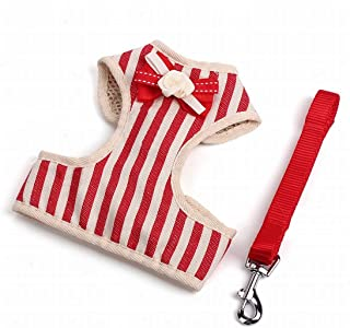 Anglayif Pet Leash Vintage Striped Bow Traction Dog Harness Nylon Dog Leagh (Color : Gray, Size : M) Joys (Color : Red, Si...