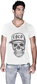 Creo Black Coco Skull T-Shirt For Men - S