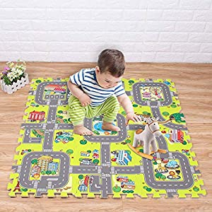 Jueyan® 9 Piezas Alfombras Infantil Alfombras Puzzle de Goma EVA Diseño de Ciudad para Niños y Bebés Juegos de Calle Suelo Protectora de Espuma Puzzles de Suelo Alfombrilla Educativa de Tráfico,Verde