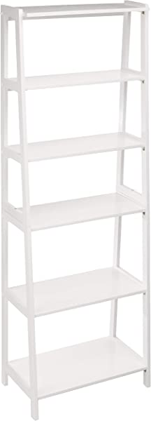 AmazonBasics Classic 5 Tier Open Bookcase With Solid Rubber Wood White