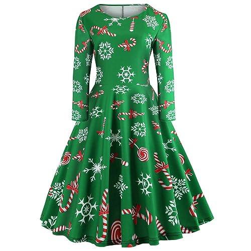 9dde2c0dfa06 MERICAL New Christmas Dress Women's Long Sleeve Dresses O Neck Printing  Knee-Length Vintage Gown