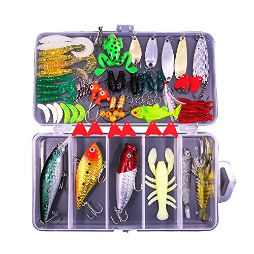 77Pcs Fishing Lures Kit Set for Bass,Trout,Salmon,Including Spoon Lures ,Soft Plastic Worms,...