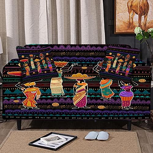 Funda Sofa 1-4 Plazas Fundas de Sofa Elasticas Fundas para Sofá Ajustables Estampada Cubre Sofa 1 Pieza Lavable en la Lavadora(Mujer Africana Bailando,1 plazas:80cm-120cm)
