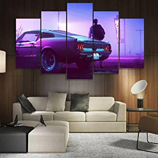 UYTRE Mustang Muscle Classic Neon Impression sur Toile intissee 5 Parties Tableau Tableaux Murale Photo Image Artistique P...