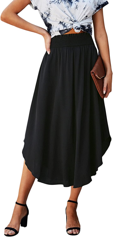 Milumia Women's Casual Shirred Paperbag Waist Asymmetrical Hem Flared Flowy Long Skirt