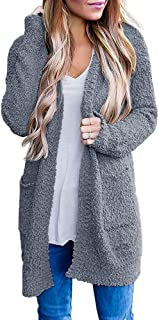 Dellytop Womens Fuzzy Open Front Cardigans Plus Size Fleece Sherpa Sweaters Coat with Pocket