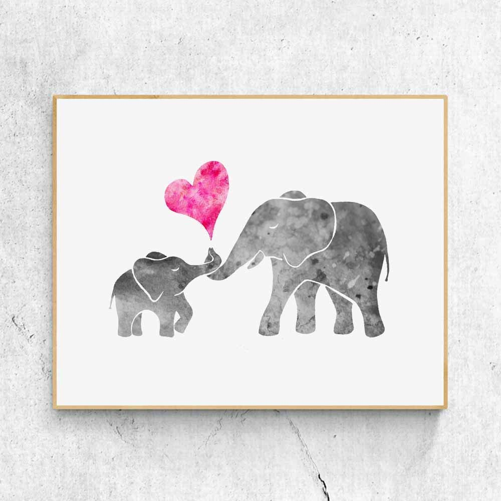 Amazon Com Watercolor Grey Baby Elephant With Mom Art Print Painting Wall Art Pink Love Heart Cute Picture Kids Room Decor Nursery 8x10 Inches No Frame Handmade