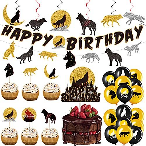 63 Decoraciones de Fiesta de Lobo, Pancarta de Cumpleaños de Lobo Adorno de Tarta Happy Birthday de...