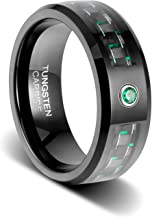 TUSEN JEWELRY 8mm Black Wedding Band Carbon Fibre with Beveled Edges and Emerald Green Cubic Zirconia Inlay Tungsten Ring