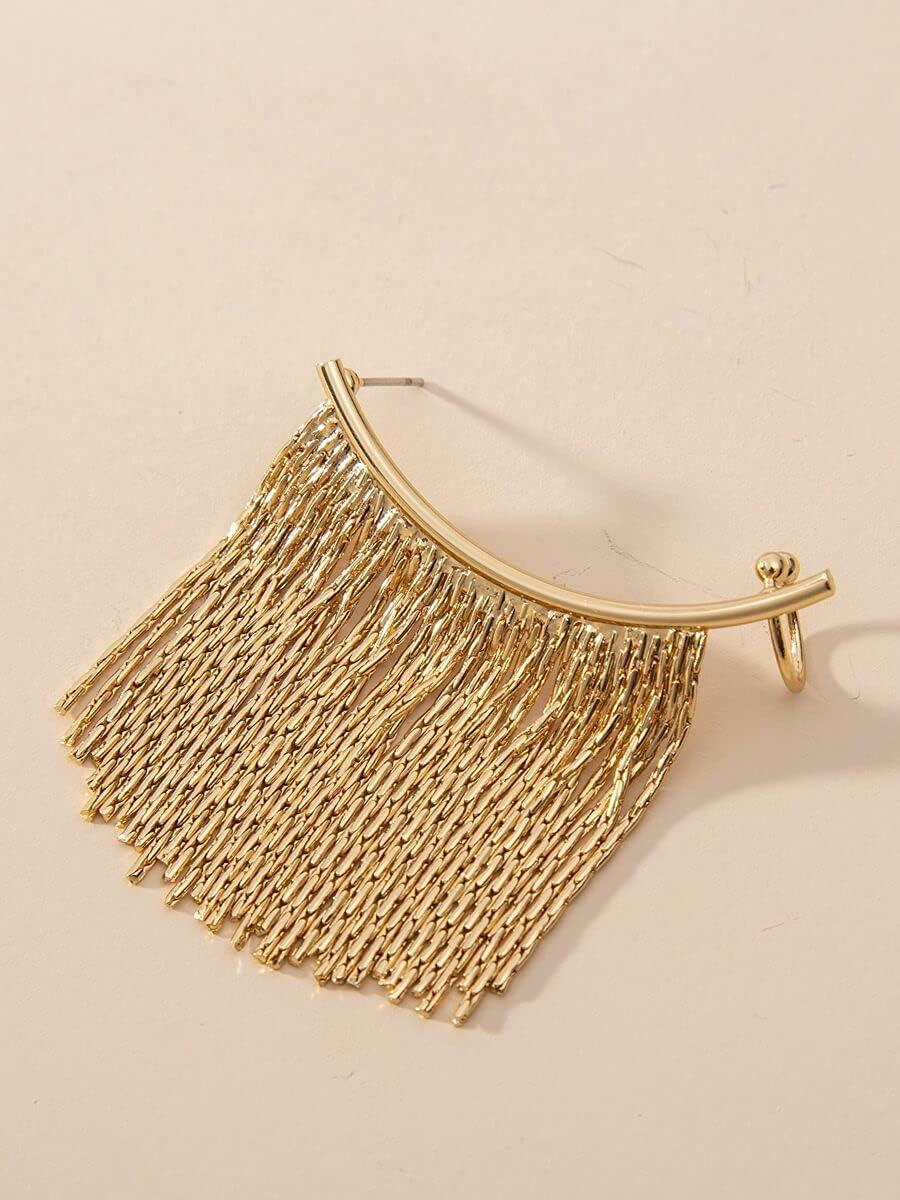FYJIDY Hoop Earrings Metal Tassel Ear Climber (Color : Gold)