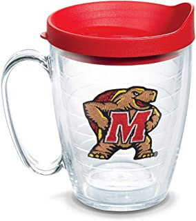 Tervis 1079566 Maryland Terrapins Logo Tumbler with Emblem and Red Lid 16oz Mug, Clear