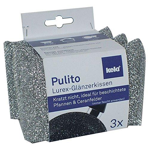 kela 11647 Eponges métalliques Pulito 3 pièces en Polyester Argent, 12,5 x 8 x 2,5 cm