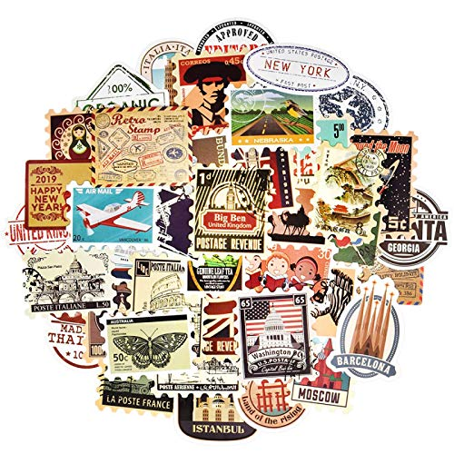 BUCUO Stamp Retro Sticker Travel Postmark Building Graffiti Waterproof Sticker Laptop Suitcase Skateboard Car Sticker 50Pcs