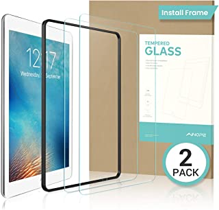 AINOPE 2 PACK iPad 9.7 6th Generation Screen Protector,EASY INSTALL FRAME Tempered Glass Screen Protector for iPad Pro 9.7/iPad 5/iPad Air 2 -Apple Pencil Compatible with/HD/Anti-scratch